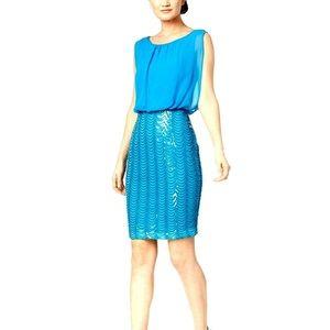 Chiffon Blouson Dress with Embellished Skirt